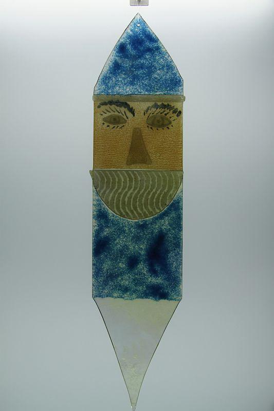 Glasbild Glasnikolaus groß blau 3