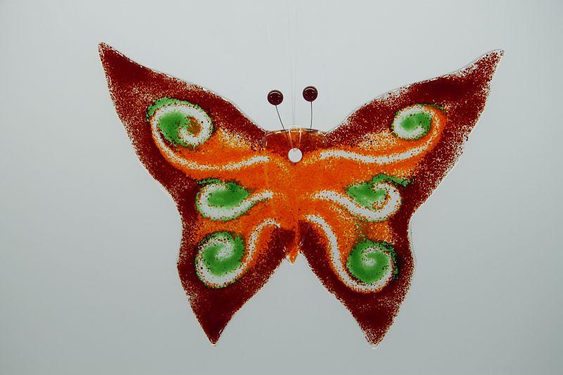 Glasbild Glasschmetterling groß rot grün 1