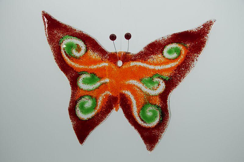Glasbild Glasschmetterling groß rot grün 2