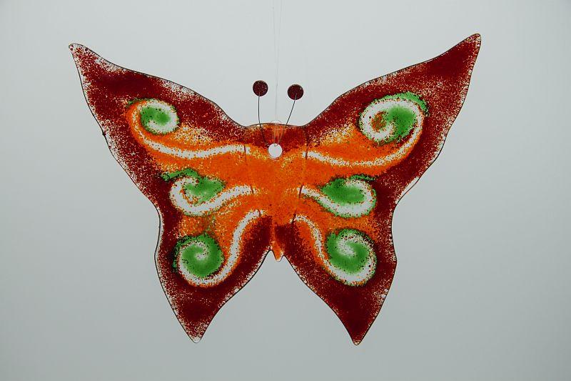 Glasbild Glasschmetterling groß rot grün 3