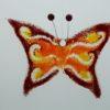 Glasbild Glasschmetterling klein dunkelrot orange 1