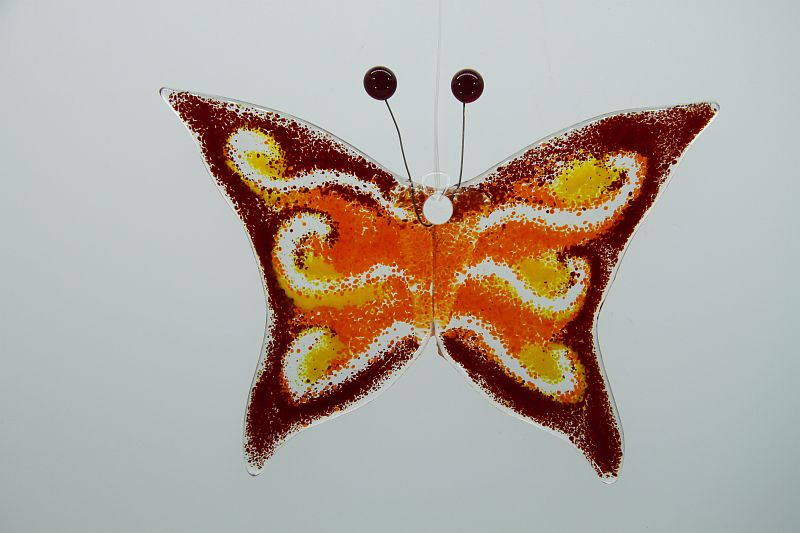 Glasbild Glasschmetterling klein dunkelrot orange 1