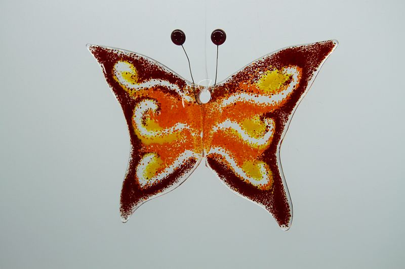 Glasbild Glasschmetterling klein dunkelrot orange 2