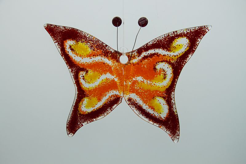 Glasbild Glasschmetterling klein dunkelrot orange 3