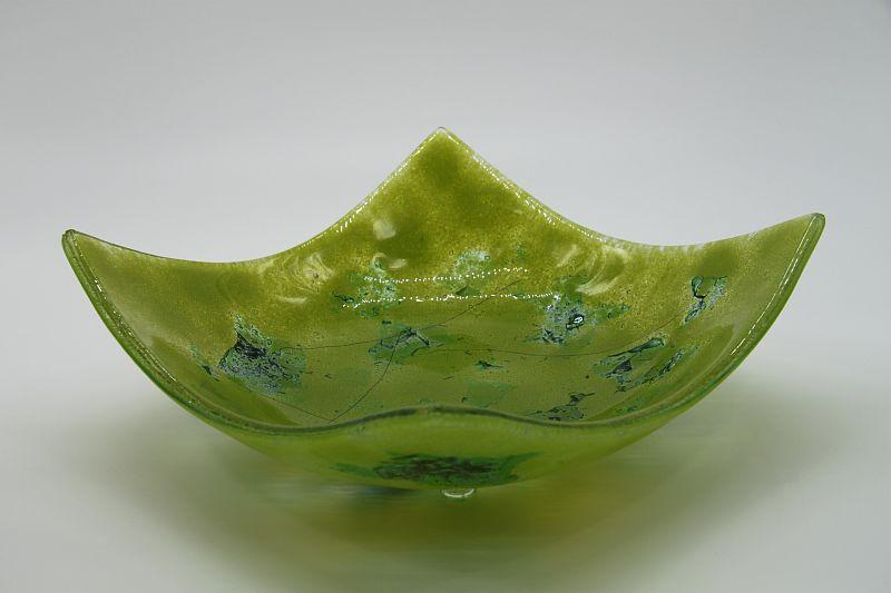 Glasschale eckig Metall grün 4