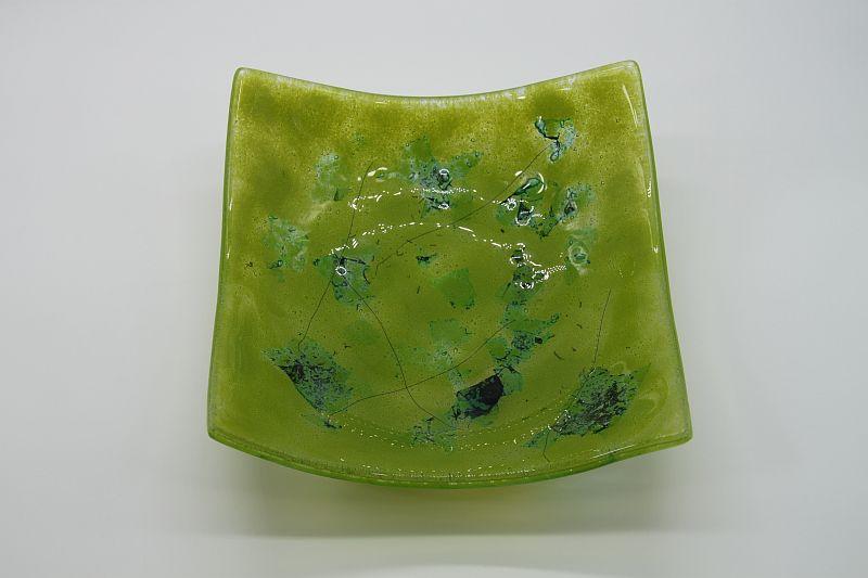 Glasschale eckig Metall grün 5