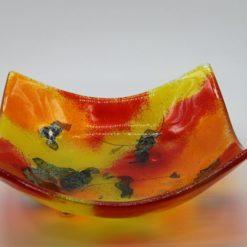 Glasschale eckig gelborange rot 1