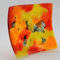Glasschale eckig gelborange rot 4