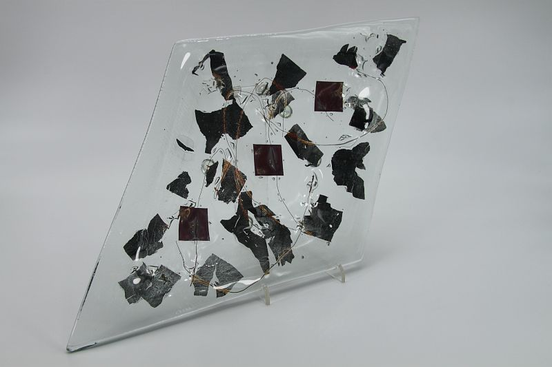 Glasschale Raute Metall 2