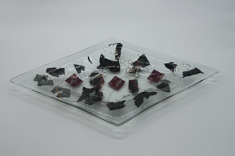 Glasschale Raute Metall 3