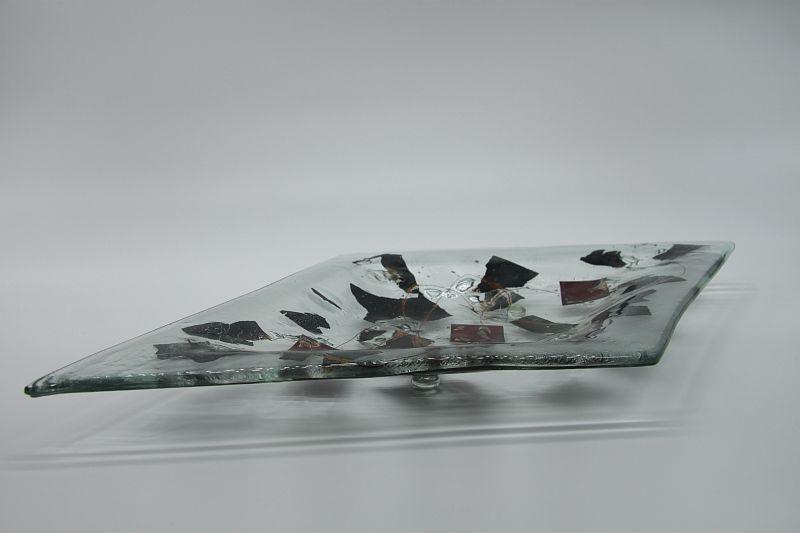 Glasschale Raute Metall 4