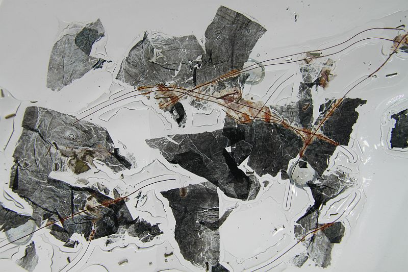 Glasschale Raute Metall rote Ecken 4