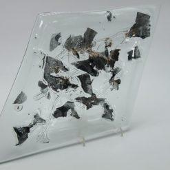 Glasschale Raute Metall rote Ecken 5