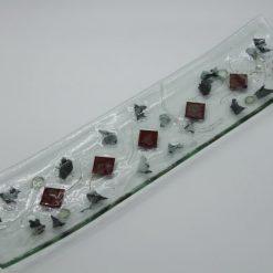 Glasschale Schiff Metall rote Ecken 1