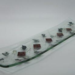 Glasschale Schiff Metall rote Ecken 2
