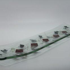 Glasschale Schiff Metall rote Ecken 3