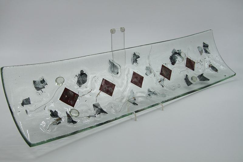 Glasschale Schiff Metall rote Ecken 4