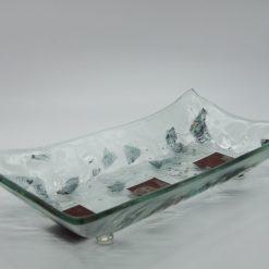 Glasschale gelbes Gras Metall rote Ecken 2