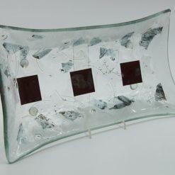 Glasschale gelbes Gras Metall rote Ecken 3