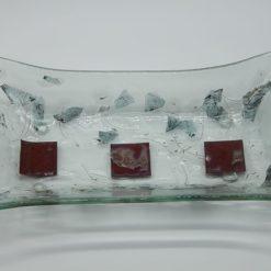 Glasschale gelbes Gras Metall rote Ecken 5
