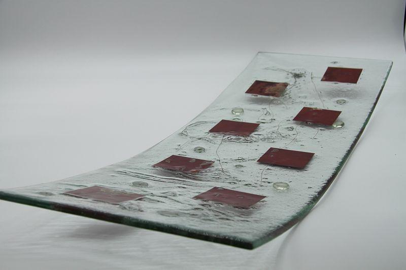 Glasschale langes Gras Metall rote Ecken 1