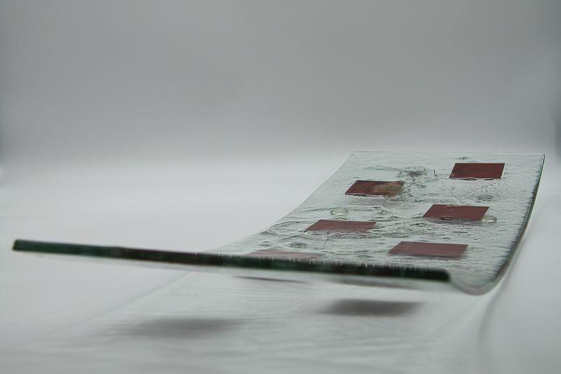 Glasschale langes Gras Metall rote Ecken 2