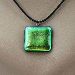 Glasschmuck Glaskette grün Metall 3