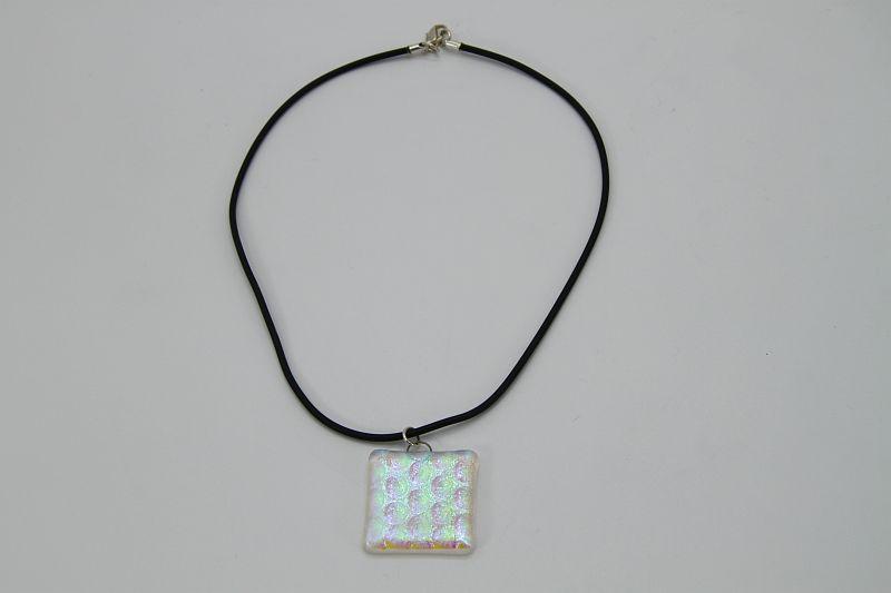 Glasschmuck Glaskette transparent blau Noppen 3