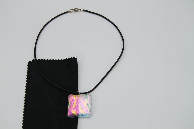 Glasschmuck Glaskette transparent rosa 4