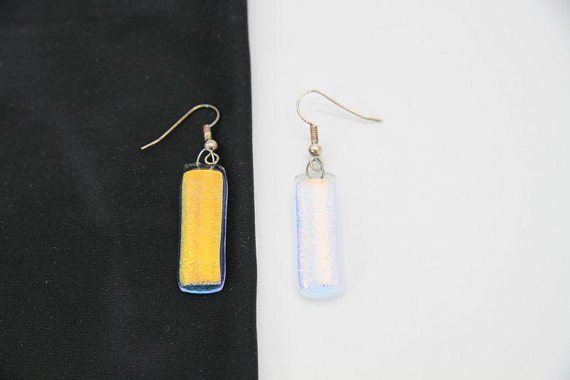 Glasschmuck Ohrhänger transparent orange 1 2
