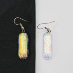 Glasschmuck Ohrhänger transparent orange Streifen 1