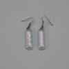 Glasschmuck Ohrhänger transparent rosa Noppen 1
