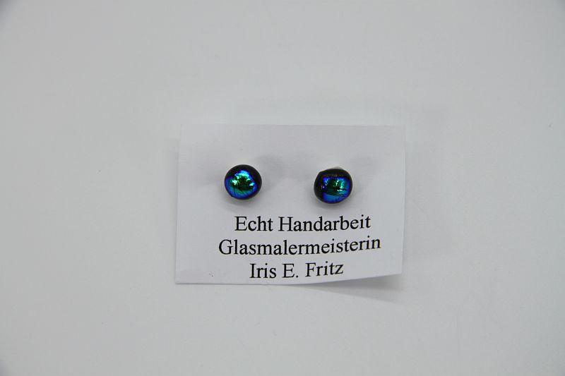 Glasschmuck Ohrstecker blau Metall 2
