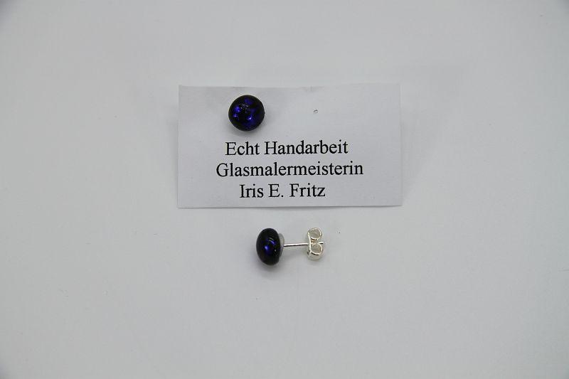 Glasschmuck Ohrstecker dunkelblau 2