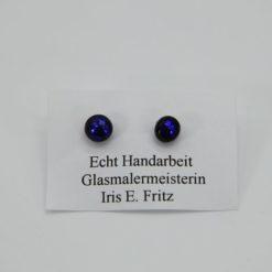 Glasschmuck Ohrstecker dunkelblau 1