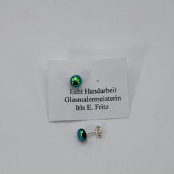 Glasschmuck Ohrstecker grün Metall 1
