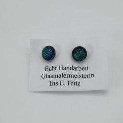 Glasschmuck Ohrstecker grün Schiller 1