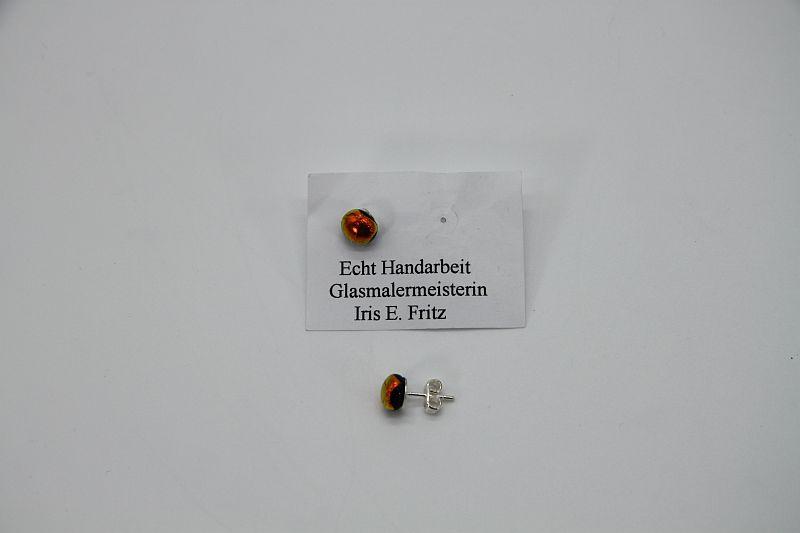 Glasschmuck Ohrstecker orange 1
