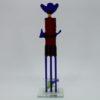 Glasfigur Cowboy rot blau 1