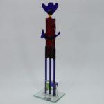 Glasfigur Cowboy rot blau 4