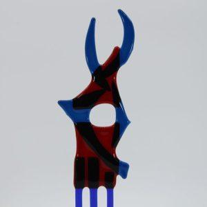Glasfigur Fisch rot blau 1