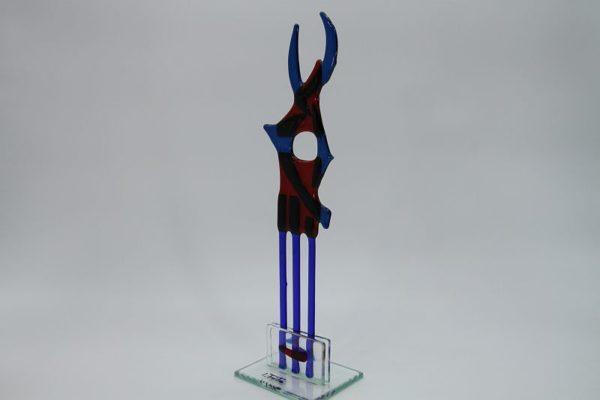 Glasfigur Fisch rot blau 2