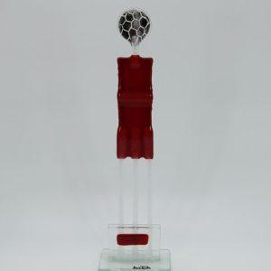 Glasfigur Fußballer rot transparent 1