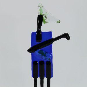 Glasfigur Golfer rot blau 2