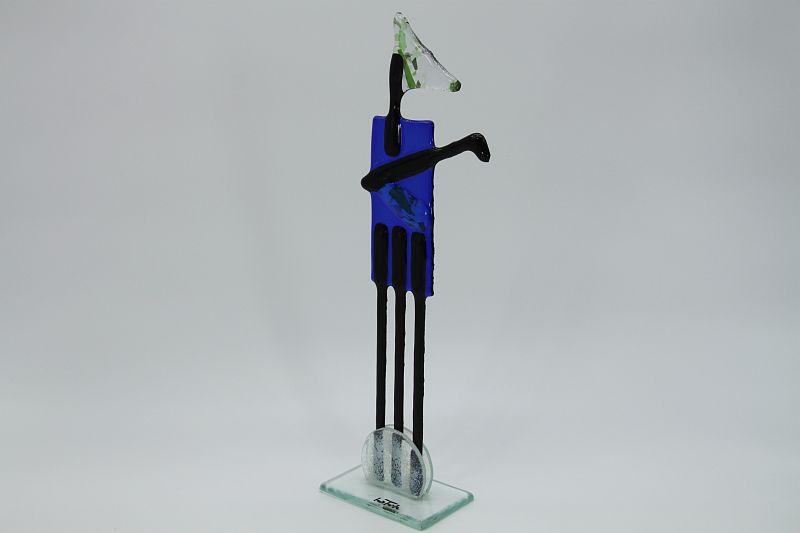 Glasfigur Golfer rot blau 4