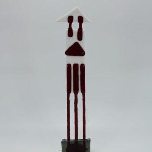 Glasfigur Königsturm weiß rot 1