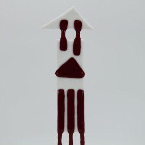 Glasfigur Königsturm weiß rot 3