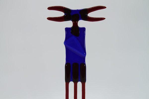 Glasfigur Krebs rot blau 2