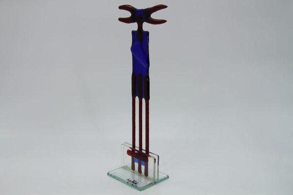 Glasfigur Krebs rot blau 3