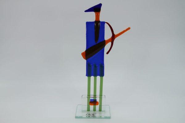 Glasfigur Schütze rot blau 1